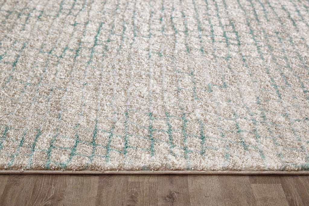 Capri Lily Modern Brick Natural And Soft Blue Rug