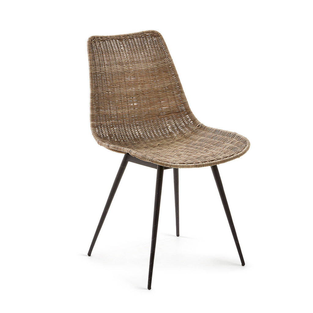 EQUAL Chair black metal and natural rattan