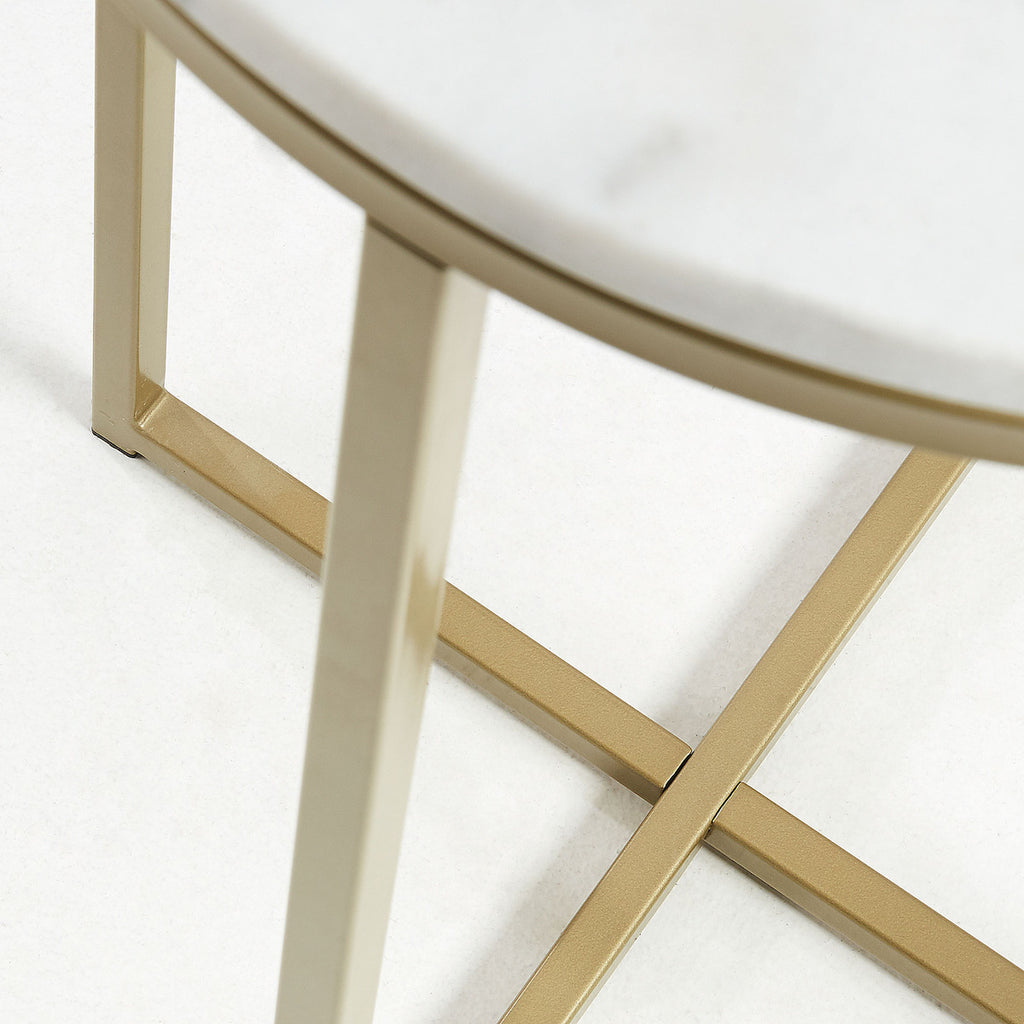 SHEFFIELD Side Table 43x71 metal gold marble white