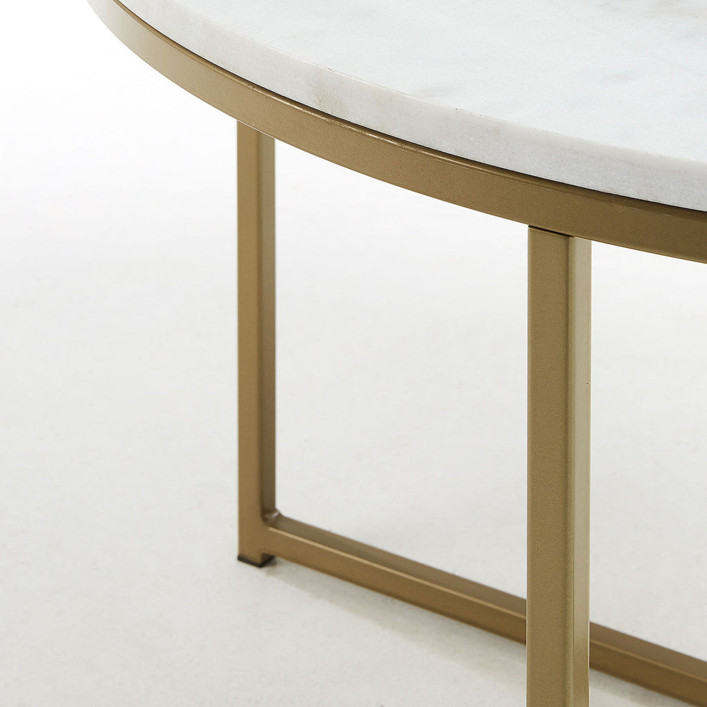 SHEFFIELD Table metal gold top white