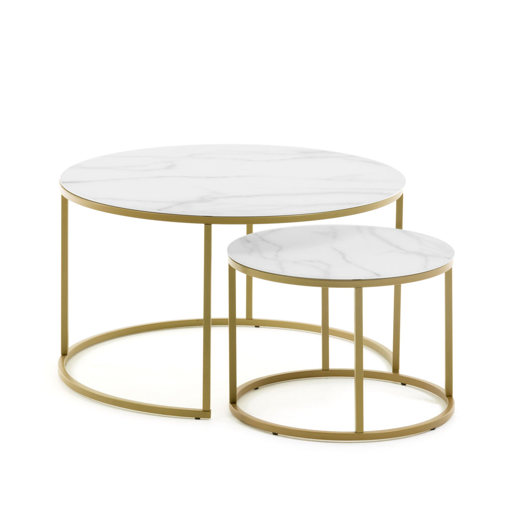 Two Round Tables-Marble-effect, Gold Finish