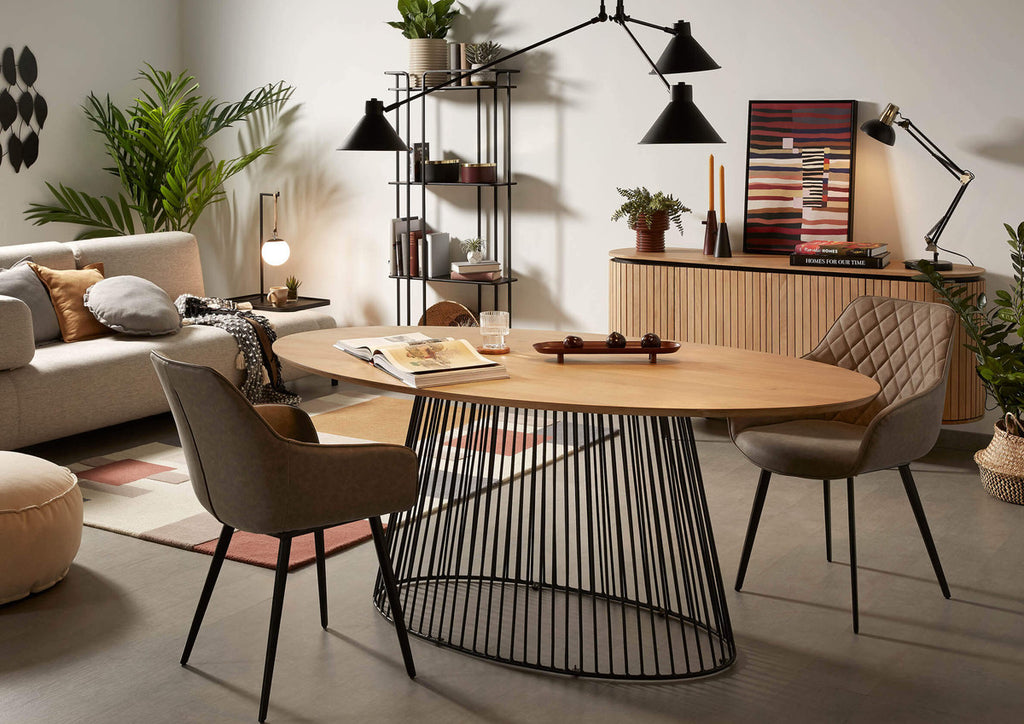 Leska - Oval Wood & Metal Dining Table