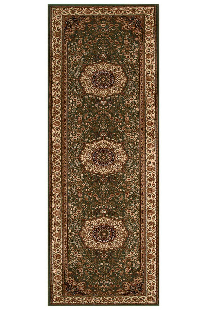 Empire Stunning Formal Medallion Design Runner Rug Green