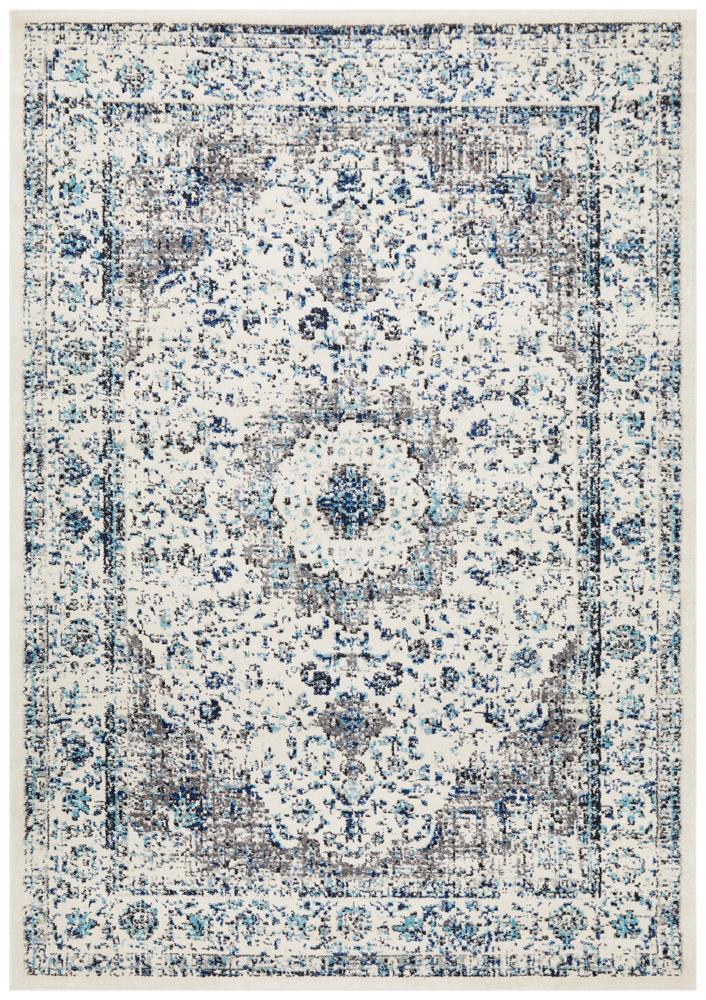 Evoke Mist White Grey Silver Transitional Rug