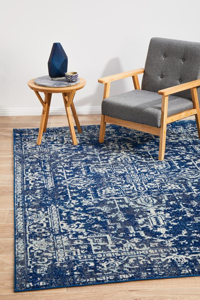 Navy Blue White Floral Rug