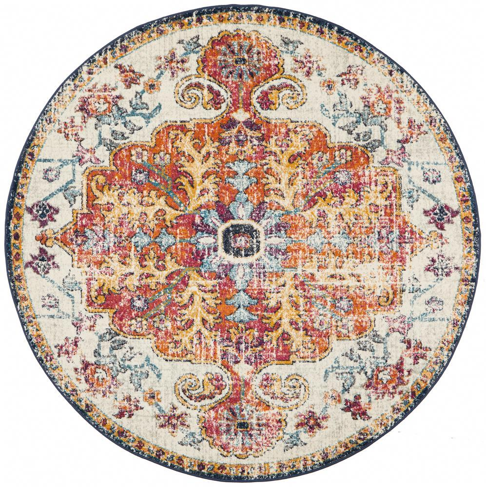 Tangerine White Orange Round Rug