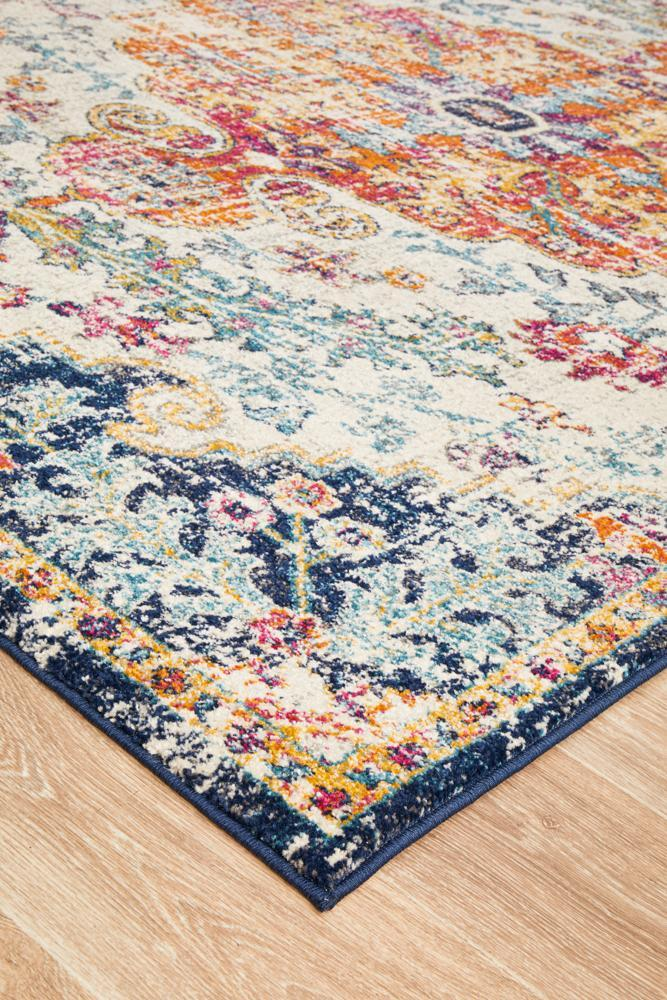 Tangerine Floral White Orange Rug