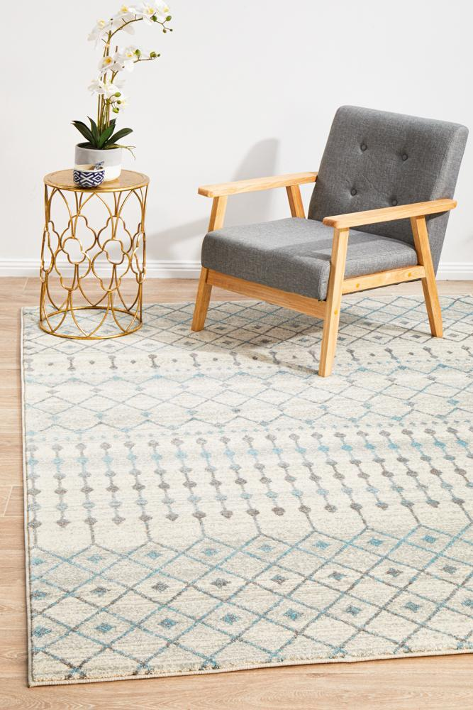 Evoke Slate White Transitional Rug