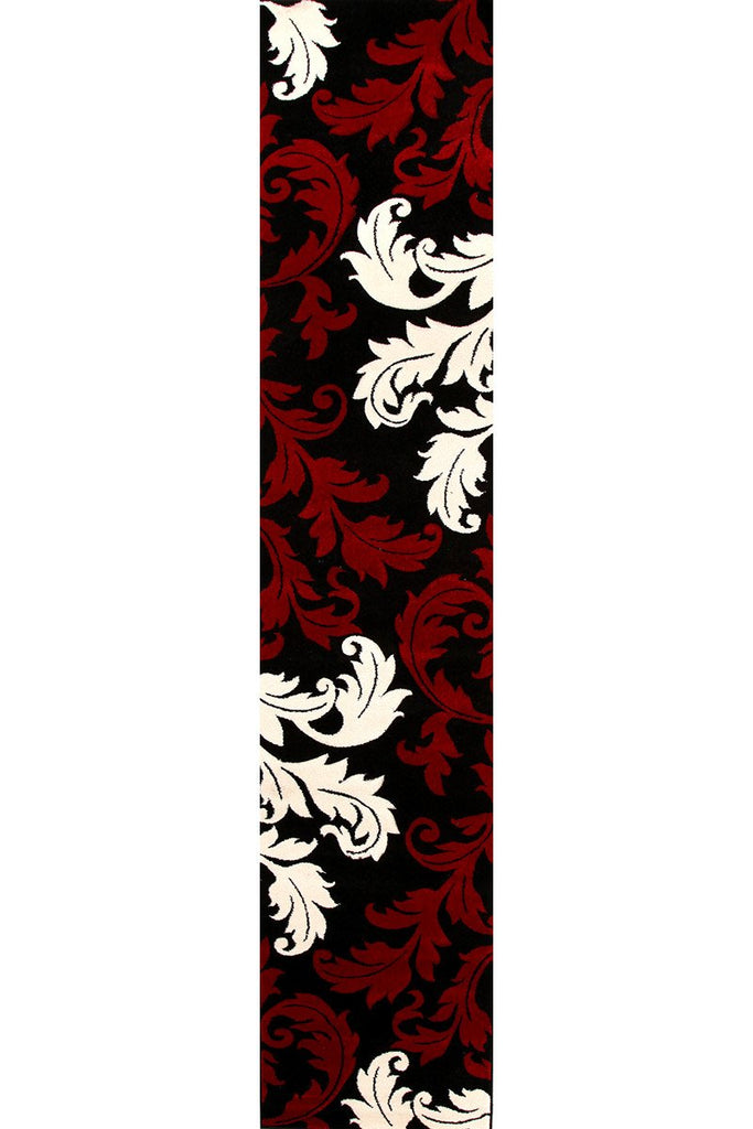 Icon Damask Leaf Design Runner Rug Red Black
