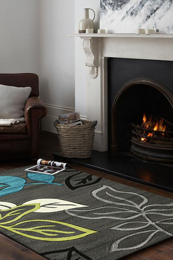 Icon Stunning Thick Leaf Rug Charcoal