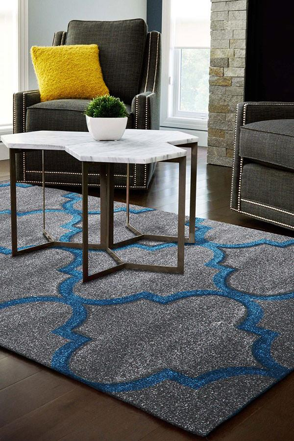 Icon Large Modern Trellis Rug Grey