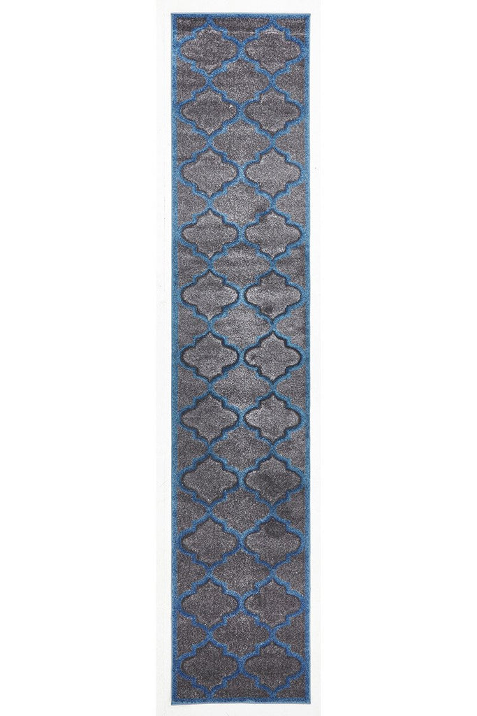 Icon Large Modern Trellis Runner Rug Grey