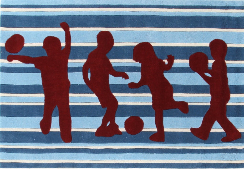 Funky Striped Kids Rug Blue and Burgundy