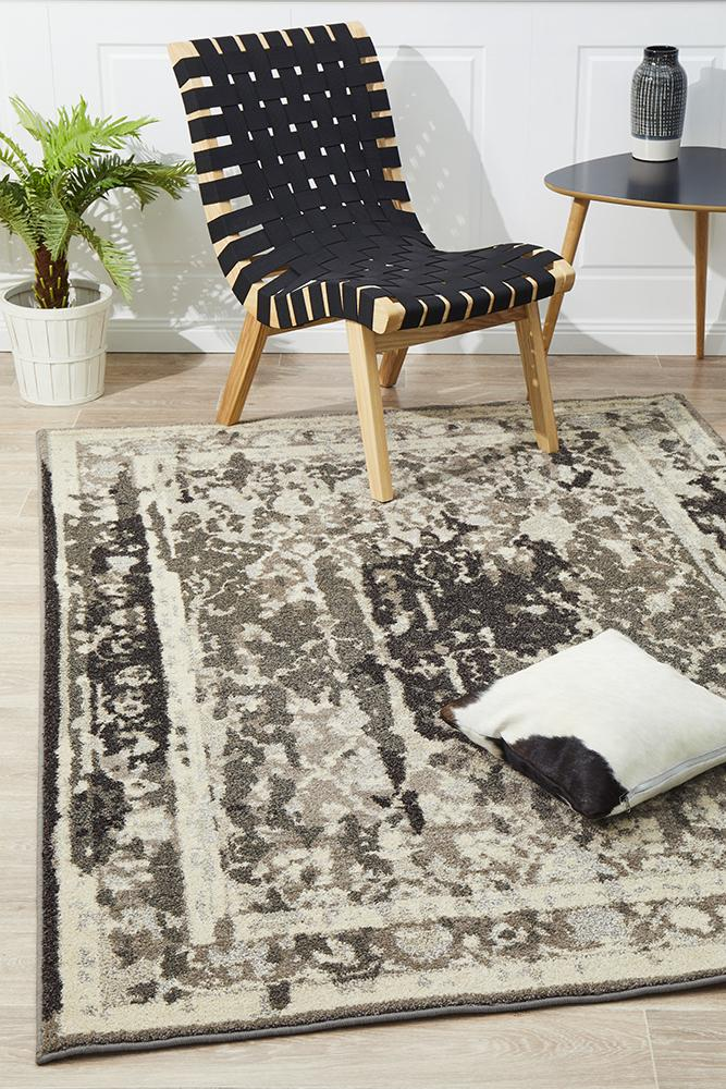 Kaleidoscope Stylish Overdyed Look Rug Grey