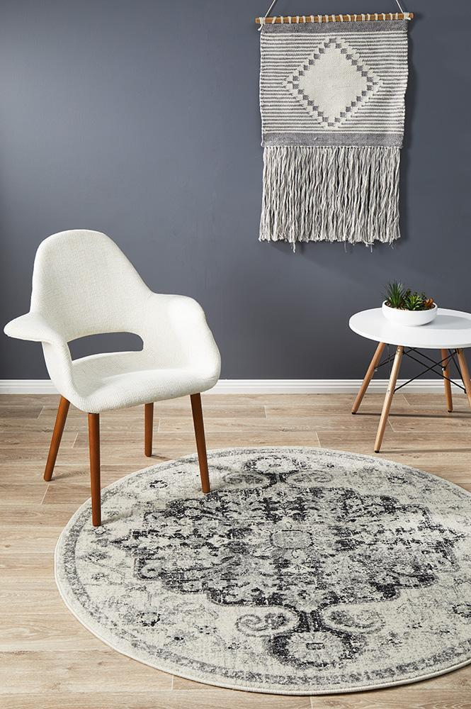 Museum Transitional Charcoal Round Rug