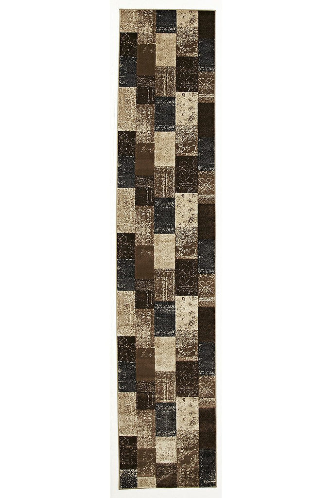 Mystique Patchwork Design Blue Runner Rug