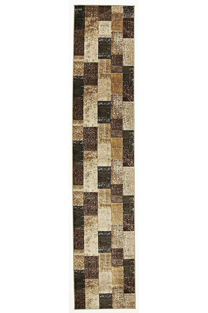 Mystique Patchwork Design Brown Runner Rug