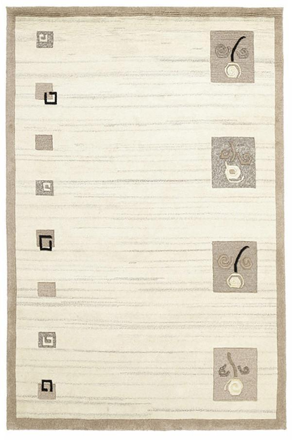 Modern Tribal Woven Rug Natural Grey