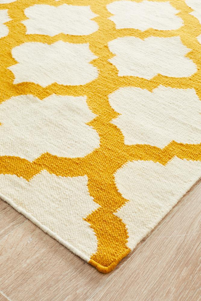 Nomad Pure Wool Flatweave 15 Ivory Gold Rug