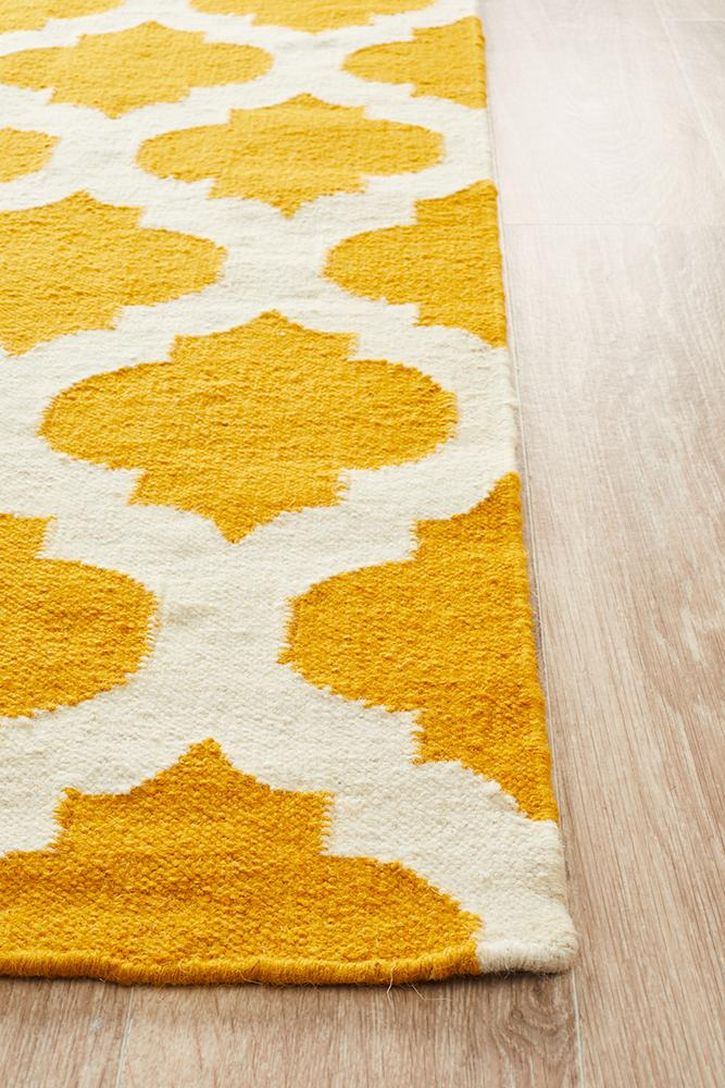 Nomad Pure Wool Flatweave 15 Gold Ivory Rug