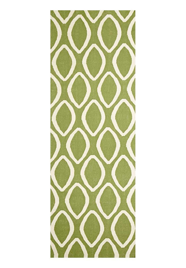 Nomad Pure Wool Flatweave 20 Green Runner