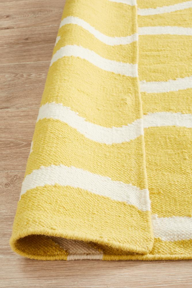 Nomad Pure Wool Flatweave 20 Yellow Runner