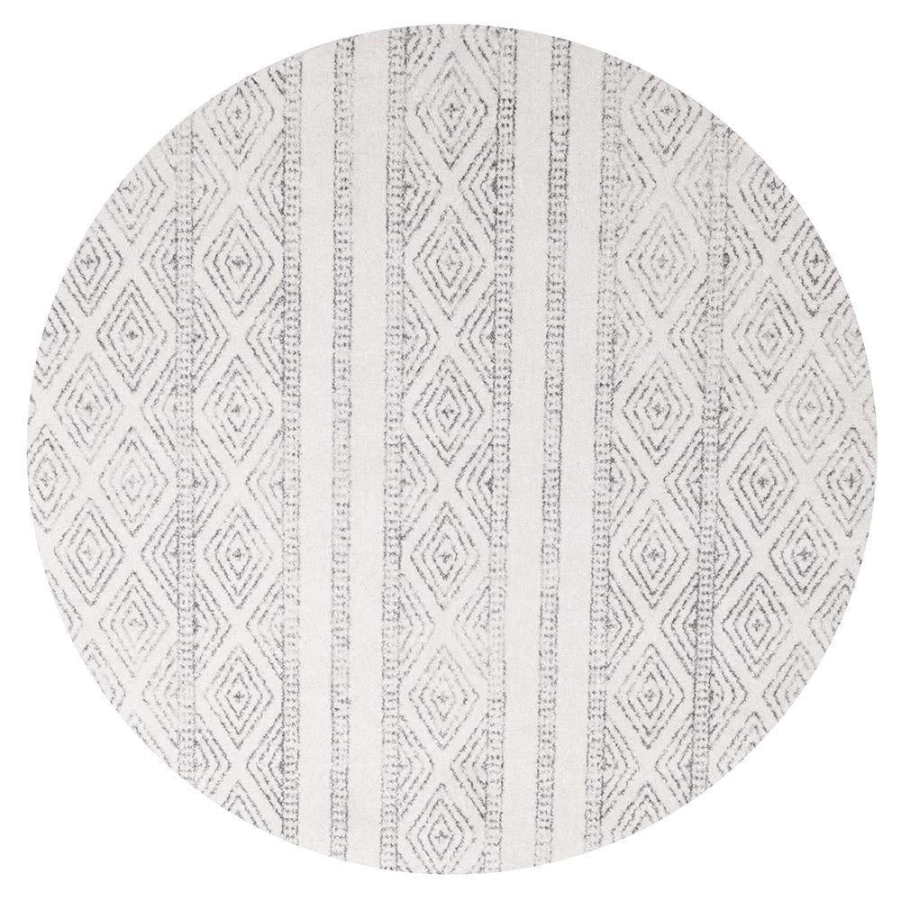 Oasis Salma White And Grey Tribal Round Rug