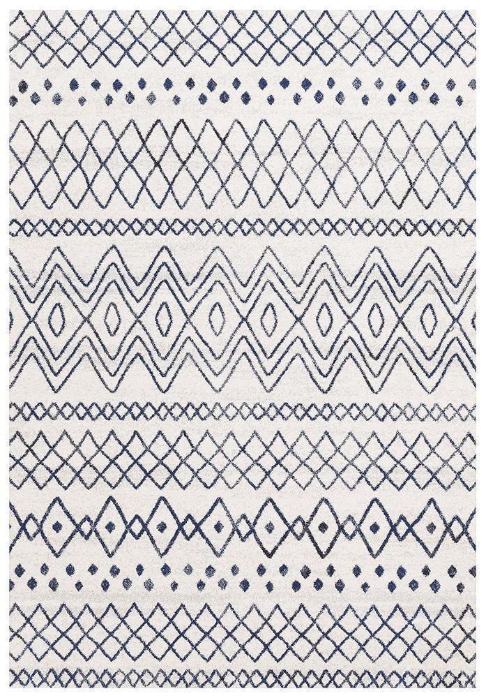 Oasis Nadia White Blue Rustic Tribal Rug