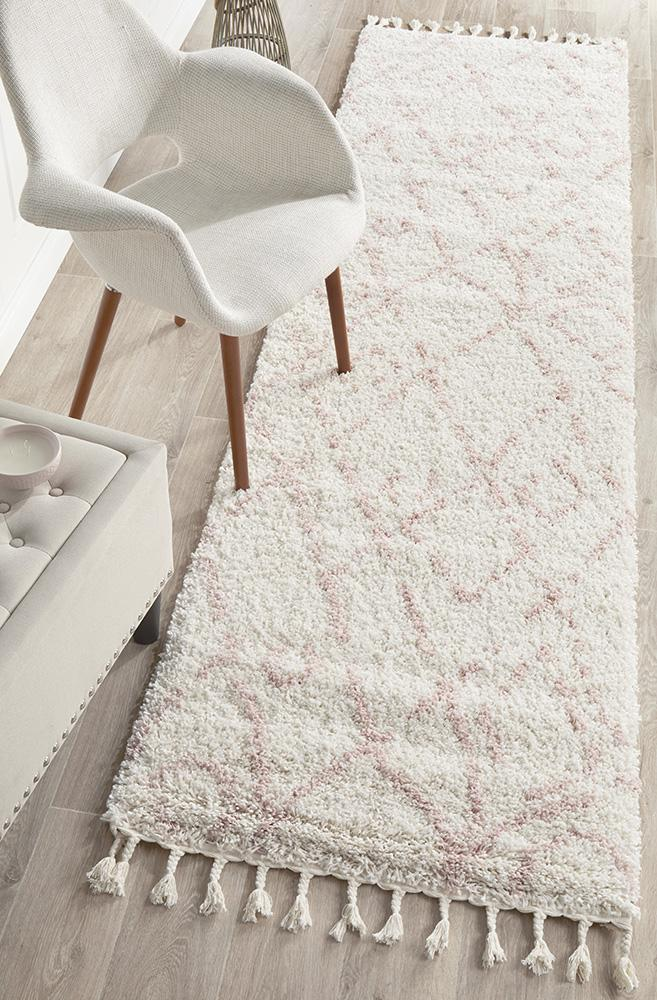 Diamond Pattern Pink Runner Rug