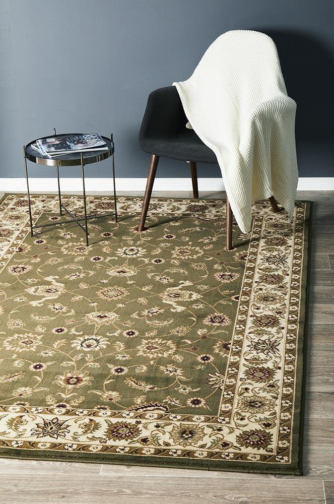 Sydney Collection Classic Rug Green With Ivory Border