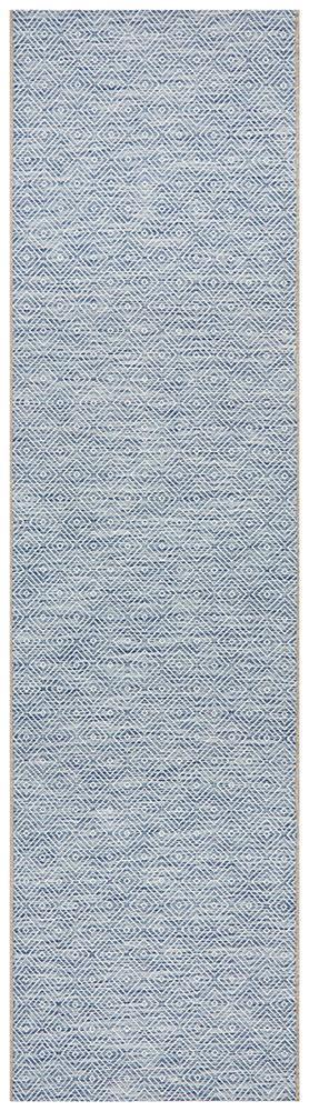 Power Loomed Diamond Pattern Blue Runner Rug