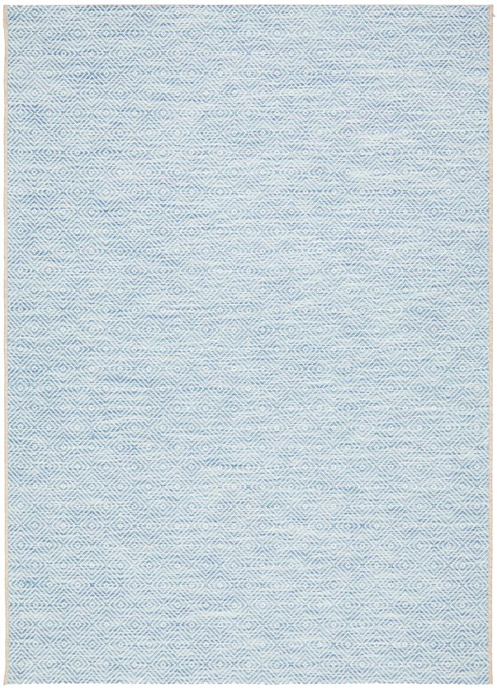 Power Loomed Small Diamond Pattern Blue Rug