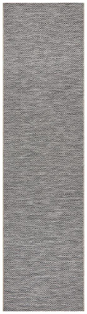 Power Loomed Diamond Pattern Grey Runner Rug