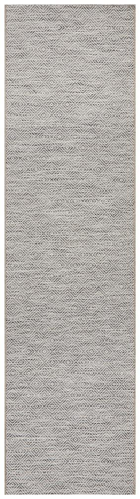 Power Loomed Diamond Pattern Grey White Runner Rug
