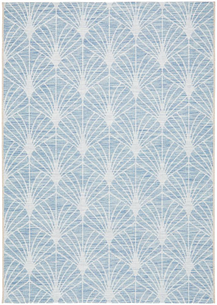 Power Loomed Geometric Pattern Blue Rug