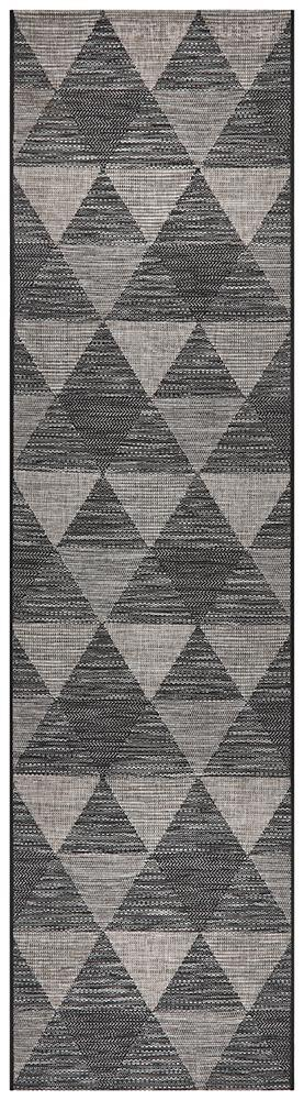 Power Loomed Diamond Pattern Black Grey Runner Rug