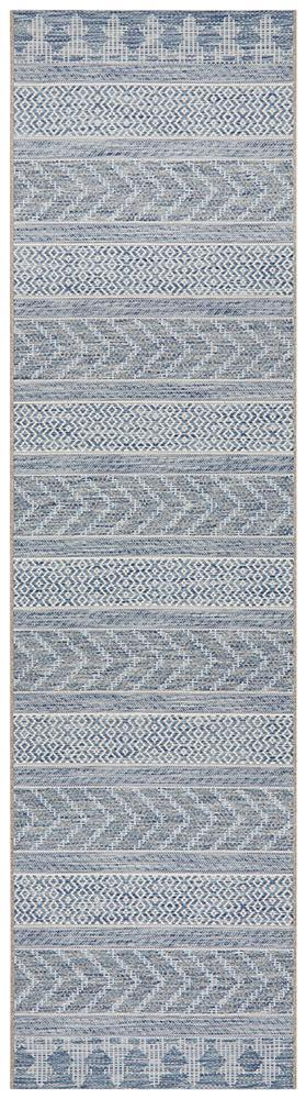 Power Loomed Chevron Geometric Pattern Blue Runner Rug