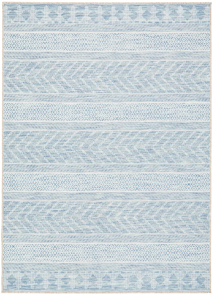 Power Loomed Chevron Geometric Pattern Blue Rug