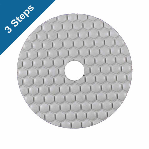 3-Step White Diamond Polish Pads 4 in. for Stone Polishing (3 Grits)