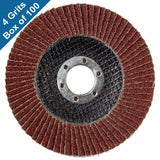 "Abrasive Flap Discs for Metal Sanding 4-1/2"" x 7/8"" (Flat, 4 Grits, Box of 100)"