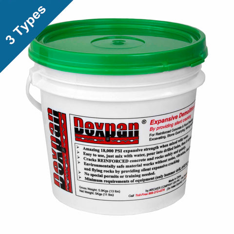 Dexpan Expansive Demolition Grout 11 lb. bucket for Concrete Breaking, Rock Splitting and Mining