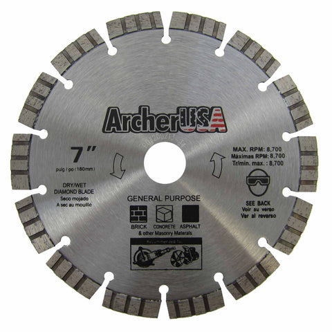 Turbo Diamond Saw Blade 7 inch for Fast Concrete Cutting | Archer USA PRO