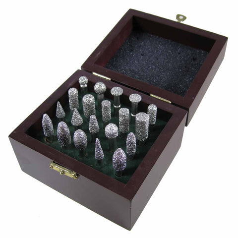 Box of 20 Diamond Burr Bits, Stone Sculpting and Engraving Kit