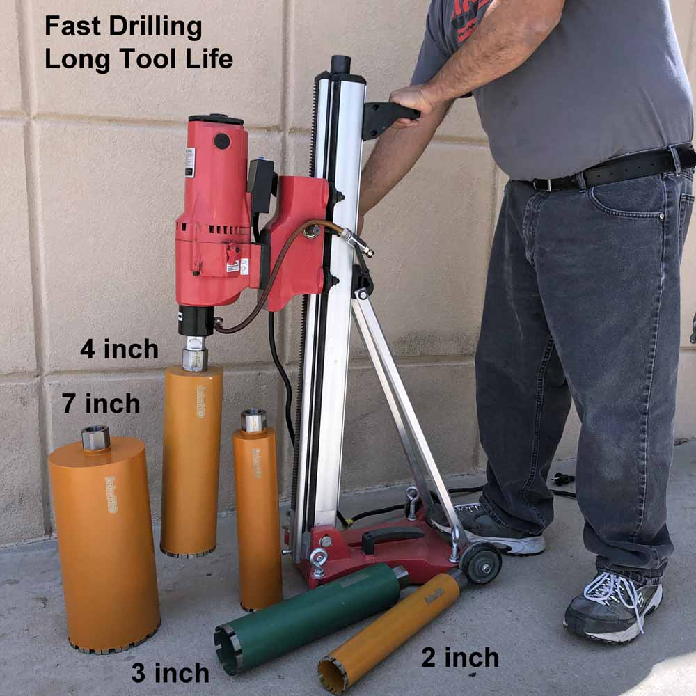 Diamond Turbo Core Drill Bits for Concrete Drilling, Installed on Core Drill Stand