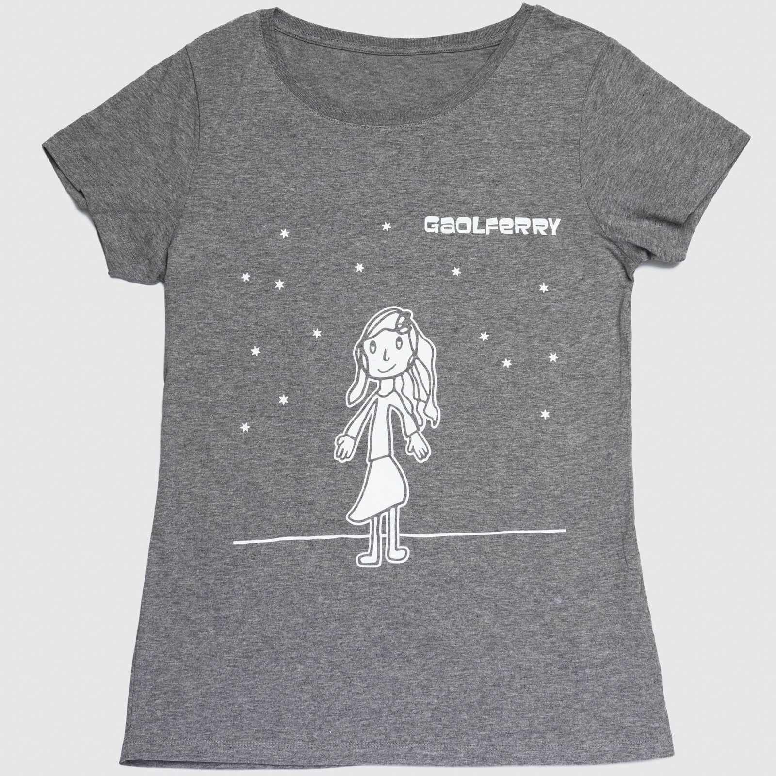 gaolferry mid heather grey t-shirt with screen printed image of a girl looking up at the stars