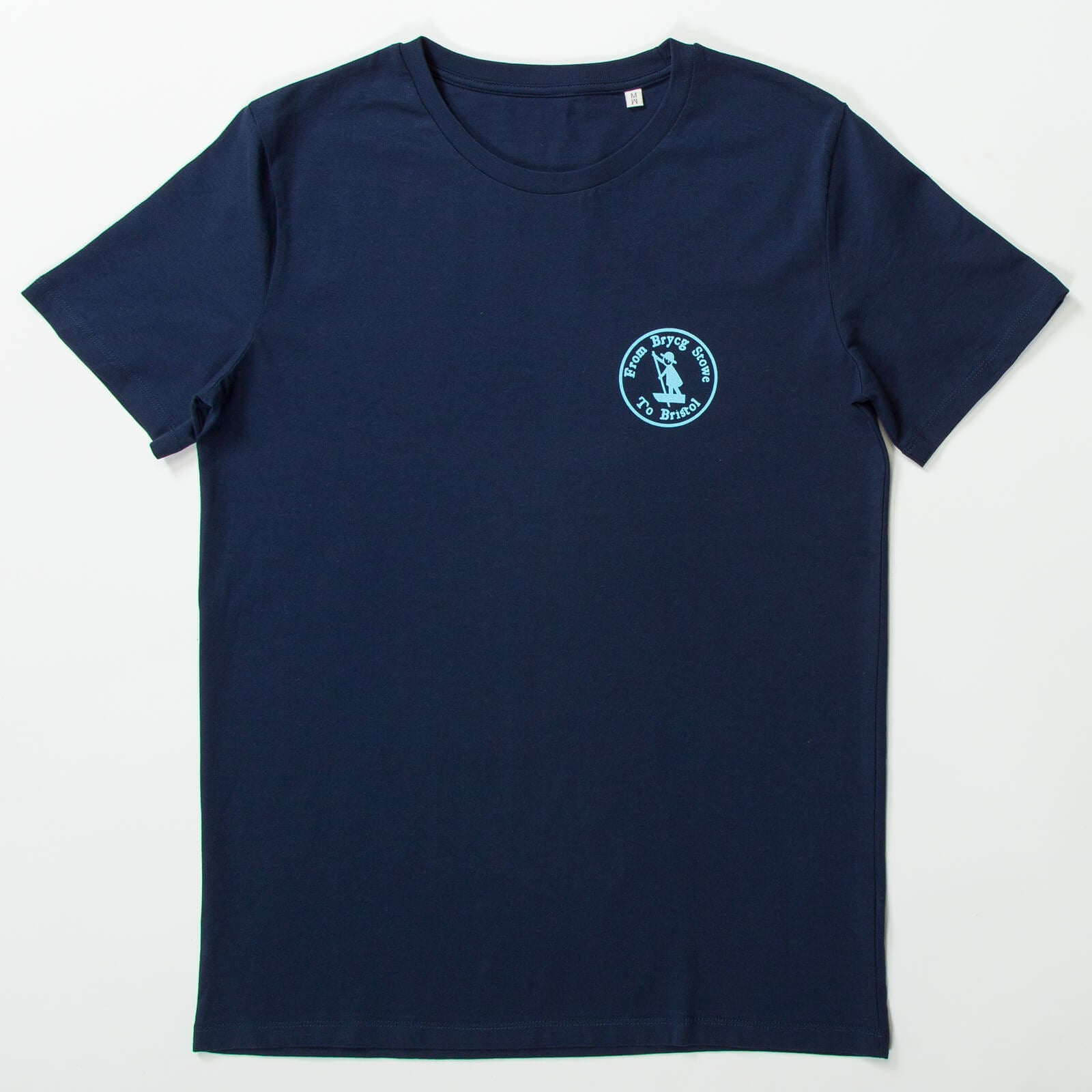 gaolferry navy blue t-shirt with screen printed image brycg stowe to Bristol