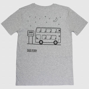 gaolferry heather grey t-shirt with screen printed image of a double decker bus