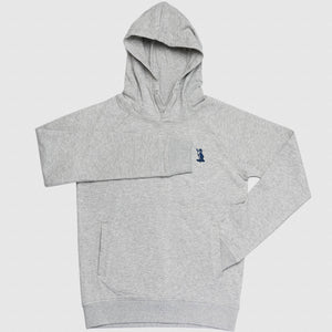 gaolferry heather grey hoodie with embroidered navy blue logo