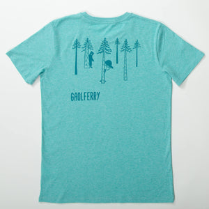 gaolferry heather green t-shirt with screen printed image of the ferryman lost in the pine woods