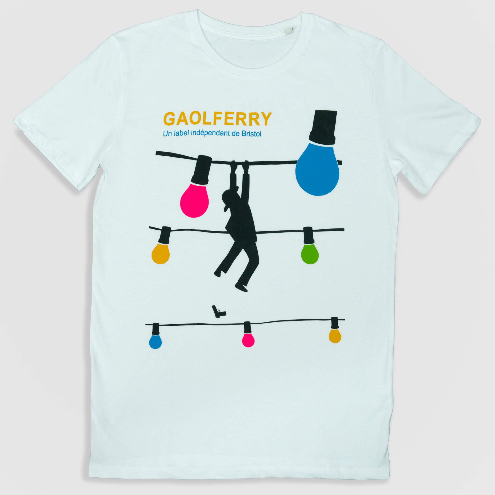 gaolferry white t-shirt with screen printed image of the ferryman hanging from a wire